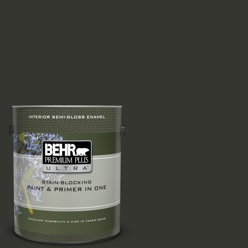 f88488df649 BEHR Premium Plus Ultra 1 gal.  PPF-59 Raven Black Semi-Gloss Enamel ...