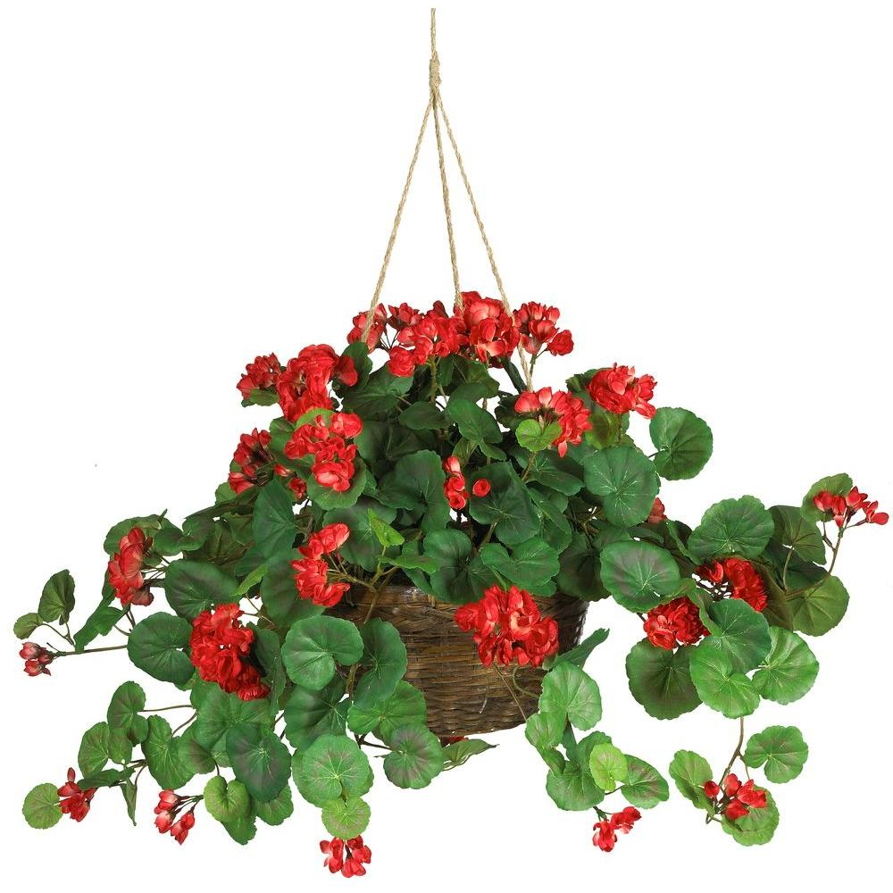 Nearly Natural 24 In Geranium Silk Hanging Basket 6609 Rd The