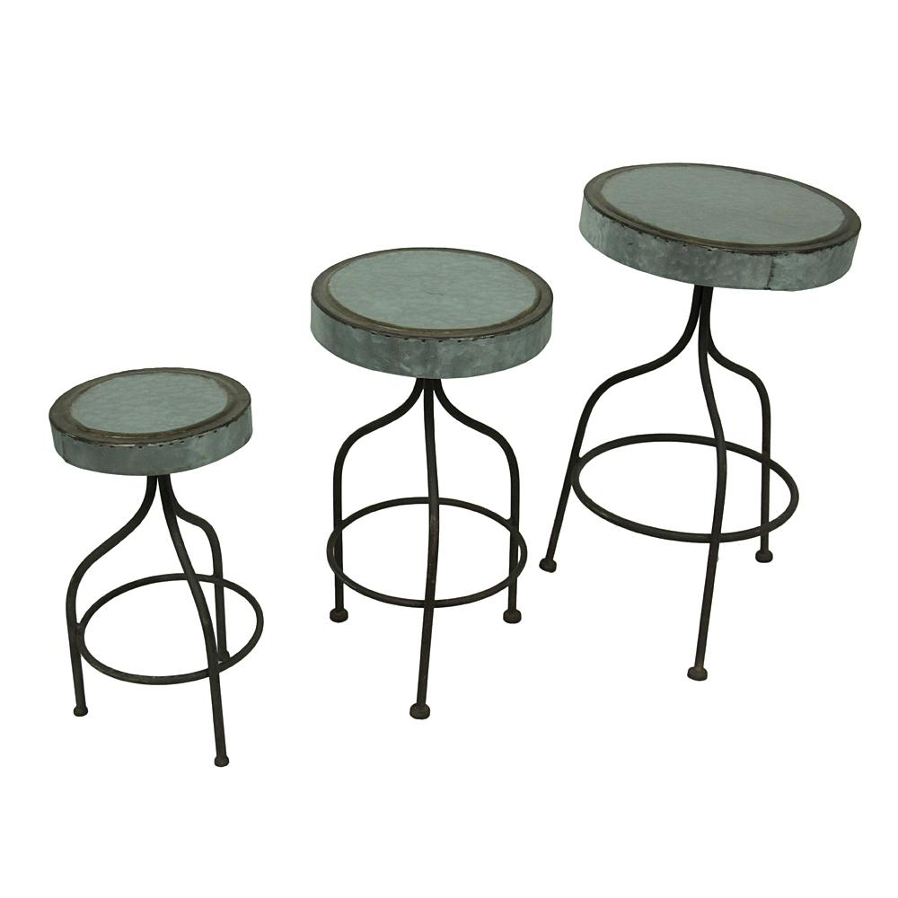 Galvanized Retro Metal Bar Stools Decorative Plant Stands Set Of 3