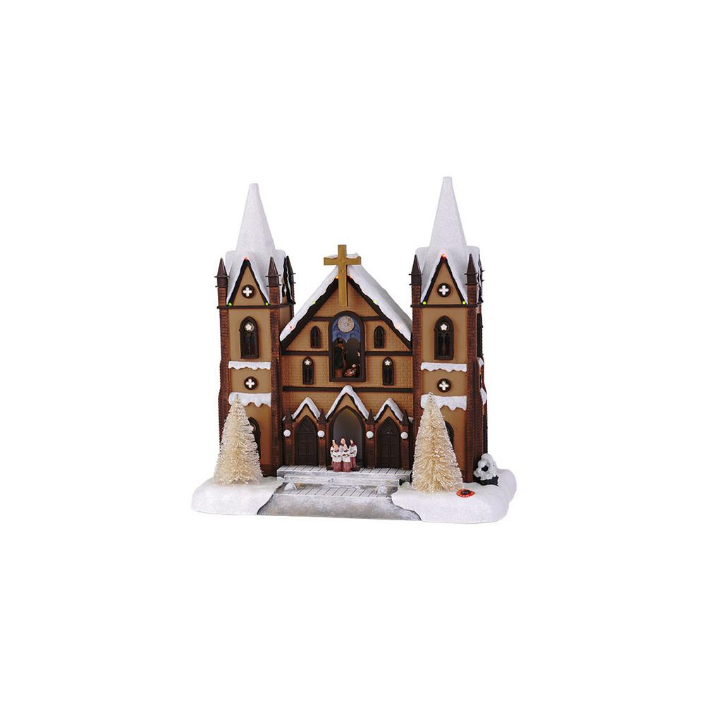 15 in. Christmas Cathedral with Seasonal Music and LED Illumination