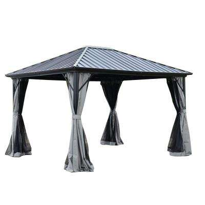 12 ft. x 10 ft. Black Aluminum Hardtop Gazebo with Mosquito Net and Curtain
