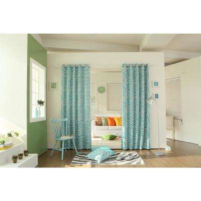84 in. L Blue Zebra Room Darkening Curtain Panel (2-Pack)