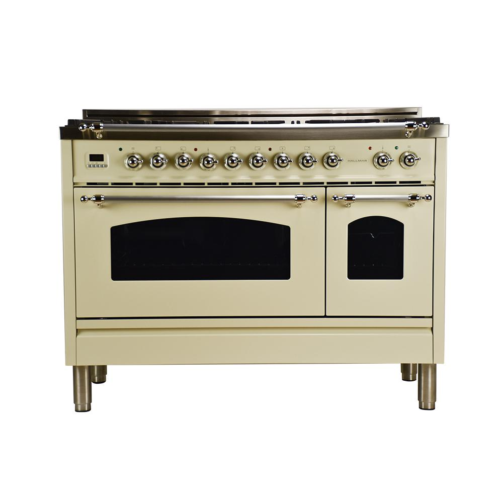Hallman 48 in 5 0 cu ft double oven dual fuel italian range with true convection 7 burners - Gas stove double oven reviews ...