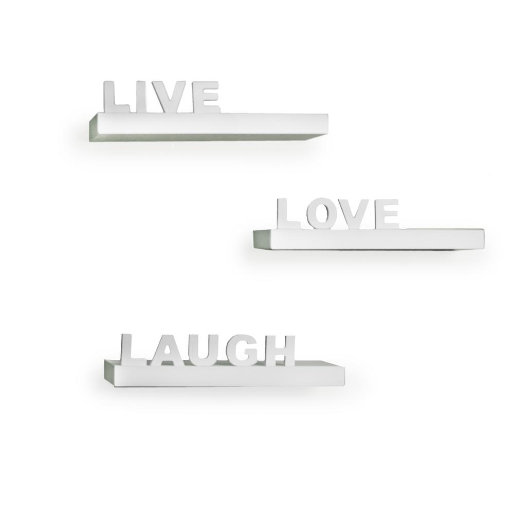 "15 in. x 3.25 in White Decorative ""Live"" ""Love"" ""Laugh"""