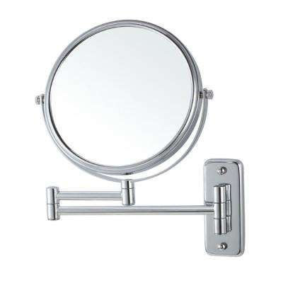 Glimmer 8 in. x 8 in. Wall Mounted 3x Round Makeup Mirror in Chrome Finish