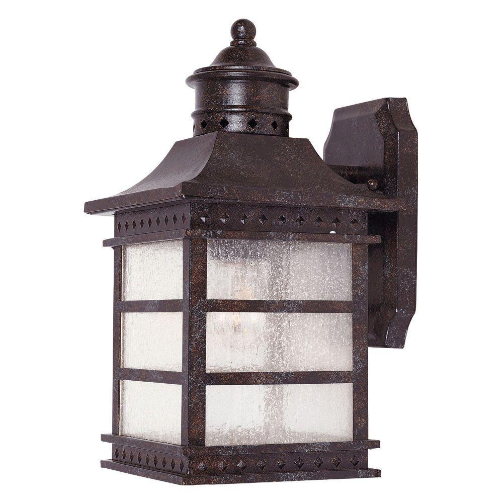 Illumine 1-Light Wall Mount Lantern Rustic Bronze Finish Pale Cream Textured Glass