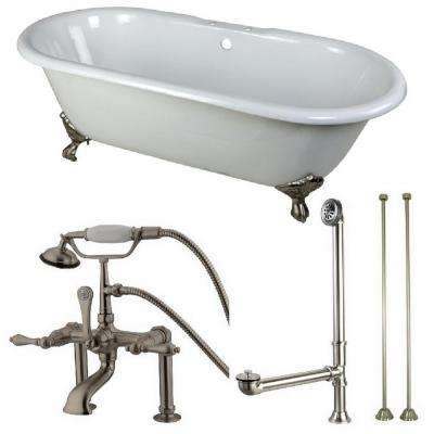 Classic Double Ended 5.5 ft. Cast Iron Clawfoot Bathtub in White and Faucet Combo in Satin Nickel