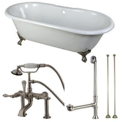 Classic Double Ended 66 in. Cast Iron Clawfoot Bathtub in White and Faucet Combo in Brushed Nickel