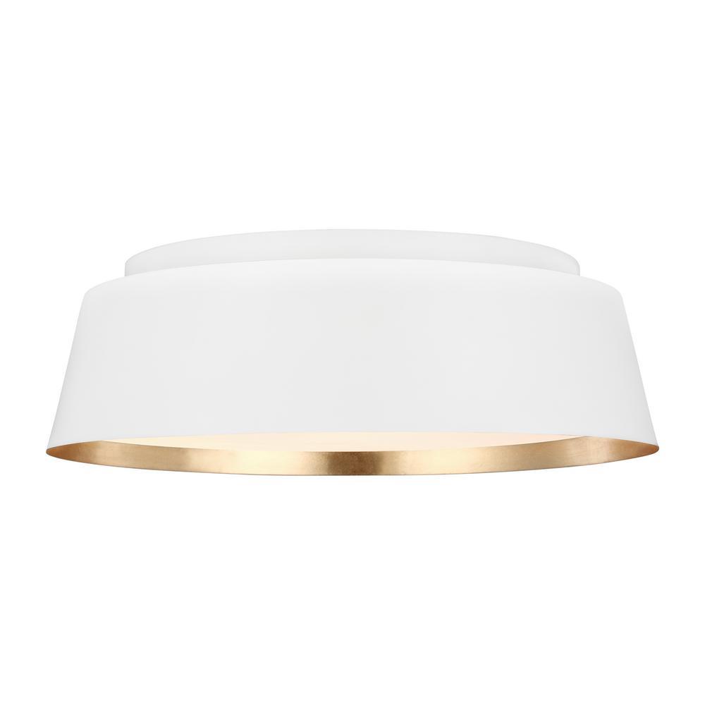 Generation Lighting Designer Collections ED Ellen DeGeneres Crafted by Generation Lighting Asher 14.5 in. W 3-Light Matte White and Gold Leaf Semi-Flush Light