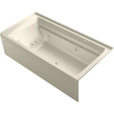 Archer 72 in. Right-Hand Drain Rectangular Apron Front Whirlpool and Air Bath Bathtub in Almond