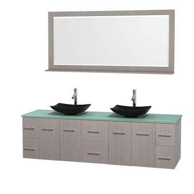 Centra 80 in. Double Vanity in Gray Oak with Glass Vanity Top in Green, Black Granite Sinks and 70 in. Mirror