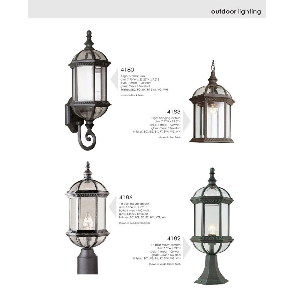 Bel Air Lighting Wall Mount 1 Light Outdoor Rust Coach Lantern Sconce With Clear Gl