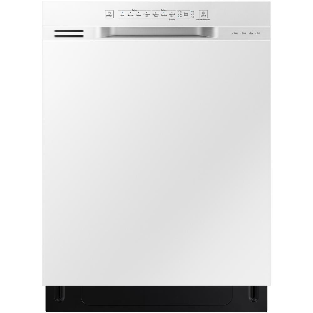 Samsung 24 in front control dishwasher in white with plastic tub and stainless steel interior for White dishwasher with stainless steel interior