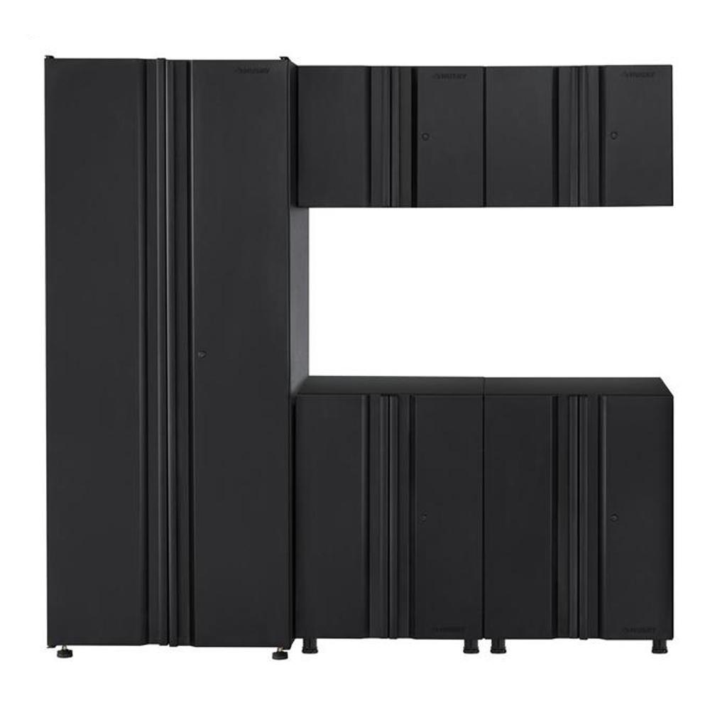 Husky Welded 78 in. W x 75 in. H x 19 in. D Steel Garage Cabinet Set in Black (5-Piece)