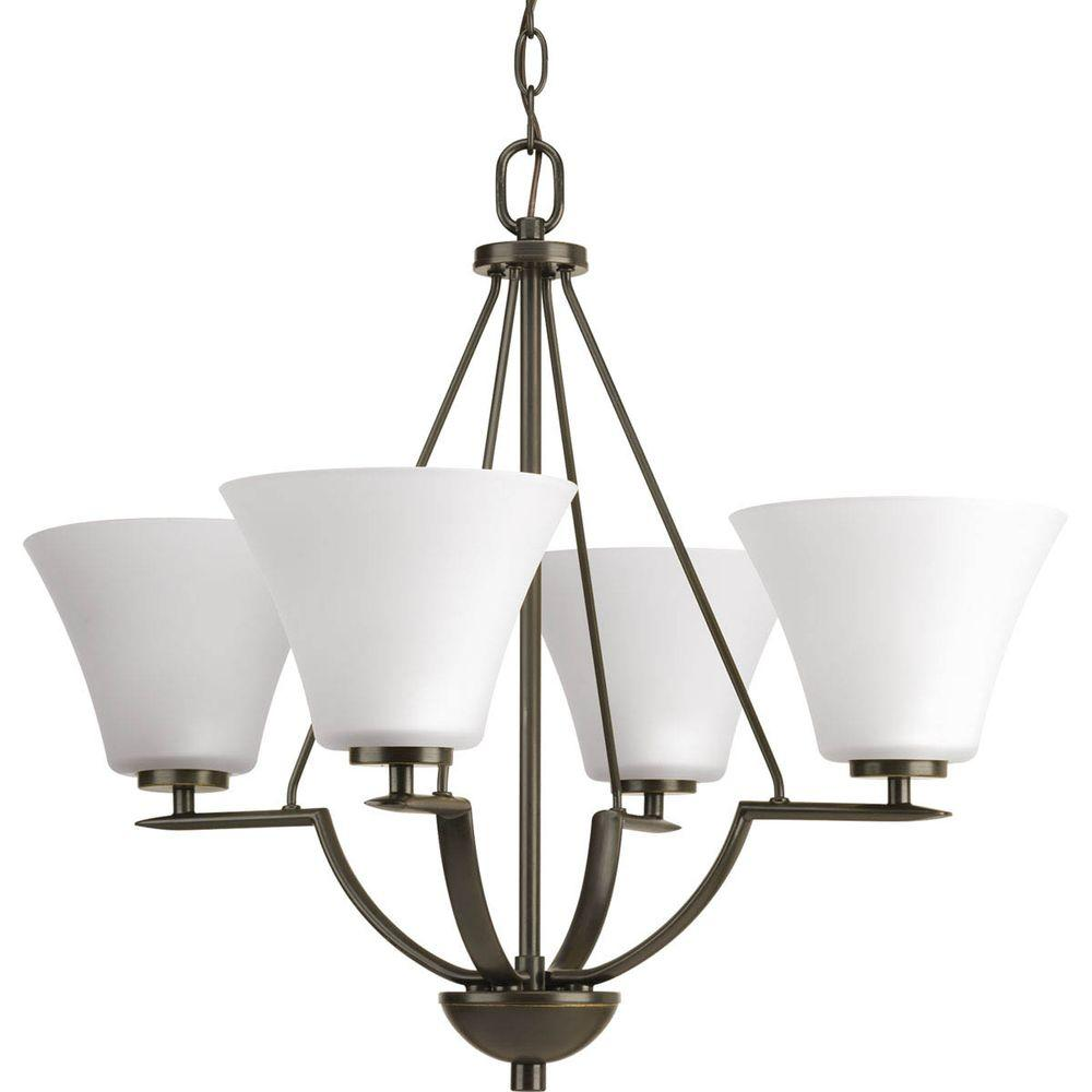 Bravo Collection 4-Light Antique Bronze Chandelier with White Etched Glass Shade
