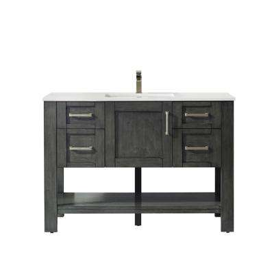 Grayson 48 in. Bath Vanity in Black with Manufactured Stone Vanity Top in White with White Basin