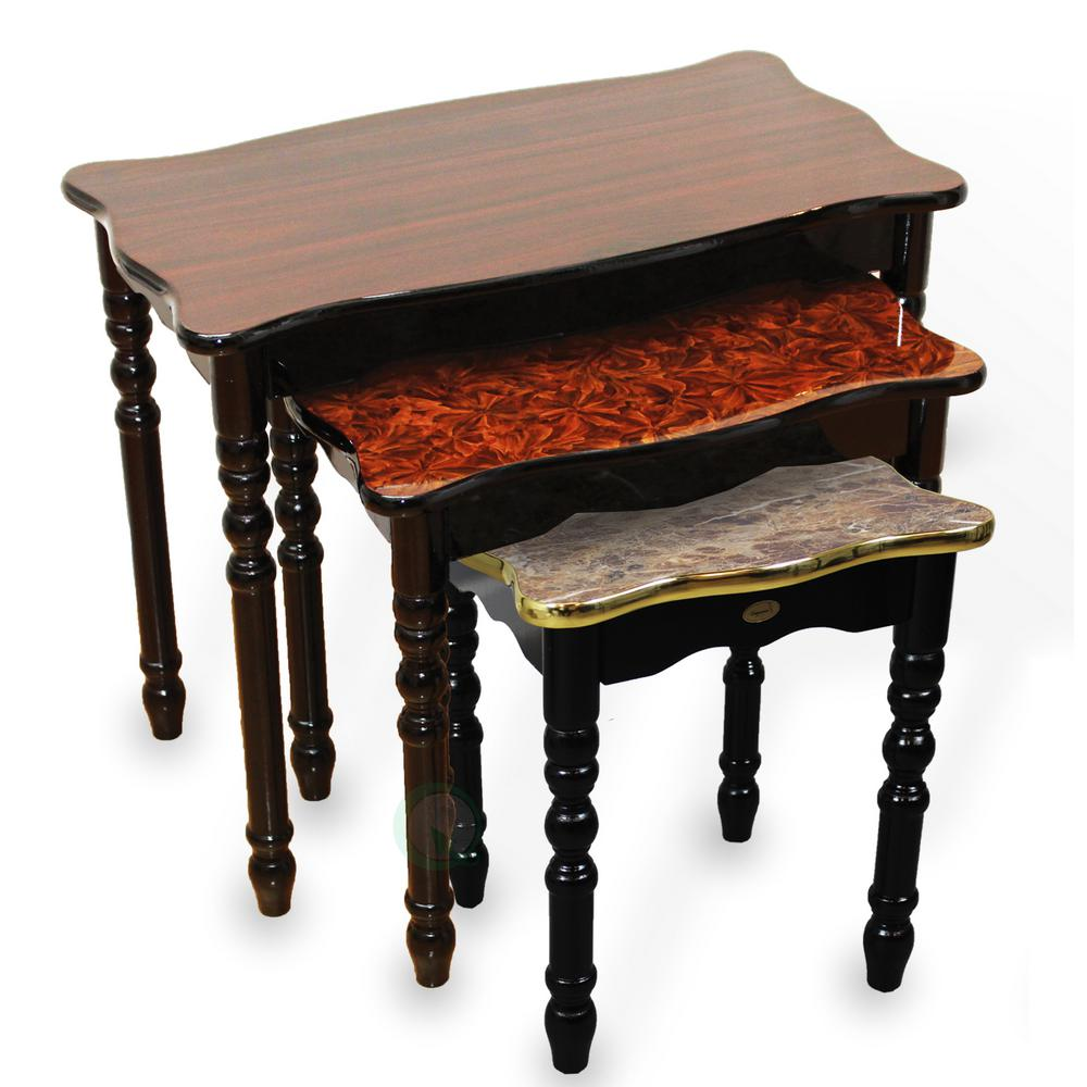 Marble Coffee Table Set: Uniquewise Brown Marble Waterproof Coffee Table