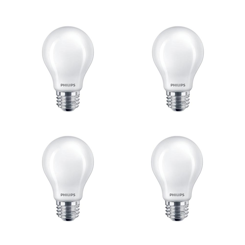 Philips 40-Watt Equivalent A19 Non-Dimmable Enregy Saving Frosted Classic Glass LED Light Bulb Daylight (5000K) (4-Pack)