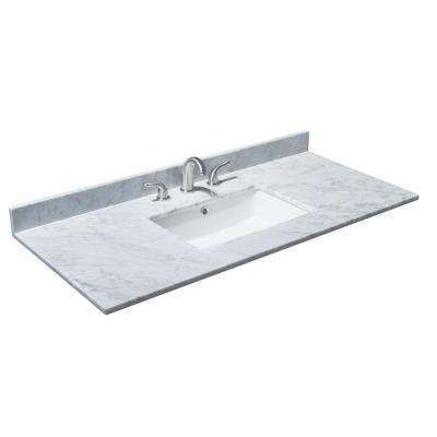 Deborah 48 in. W x 22 in. D Marble Single Basin Vanity Top in White with White Basin