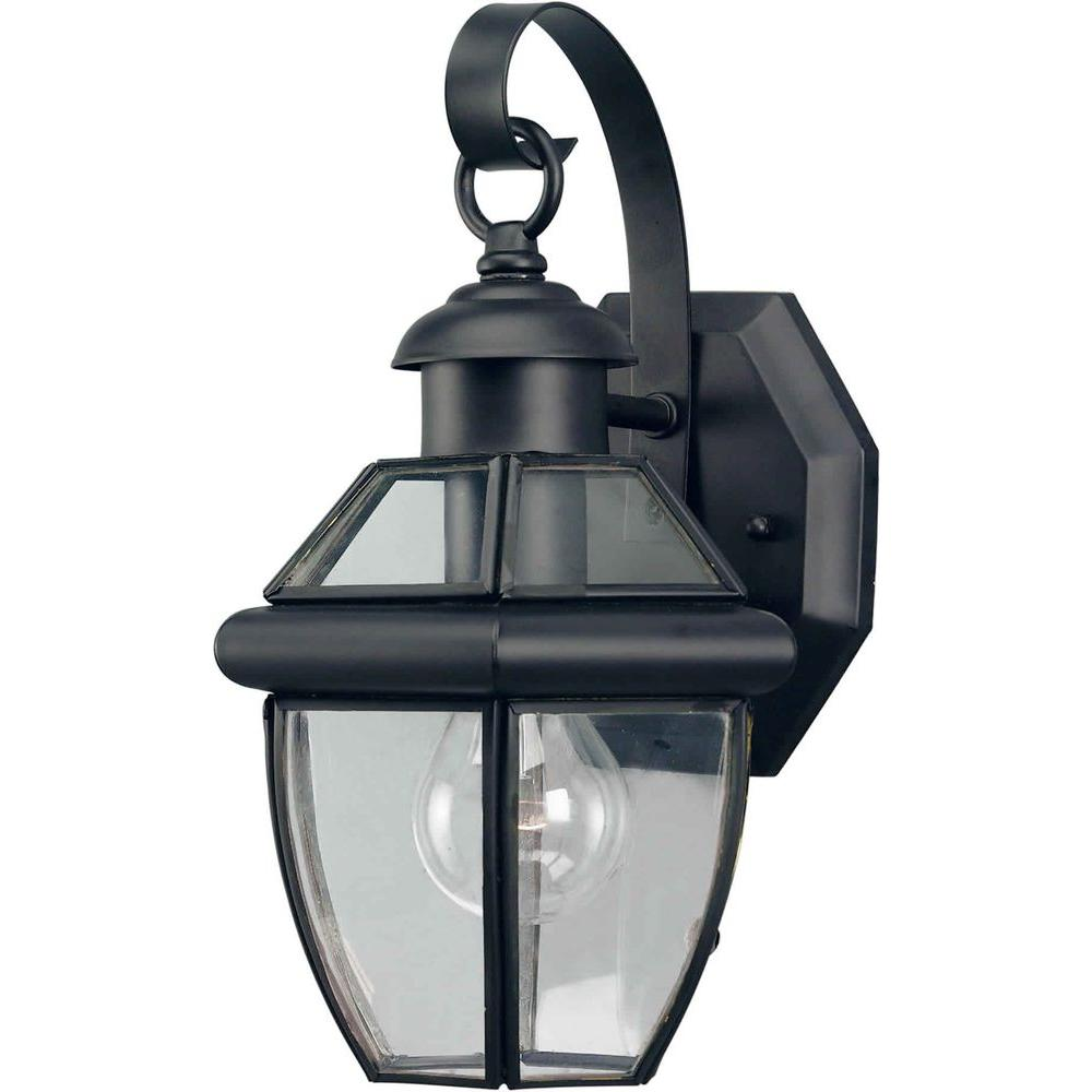 Talista 1-Light Outdoor Black Wall Lantern with Clear Beveled Glass