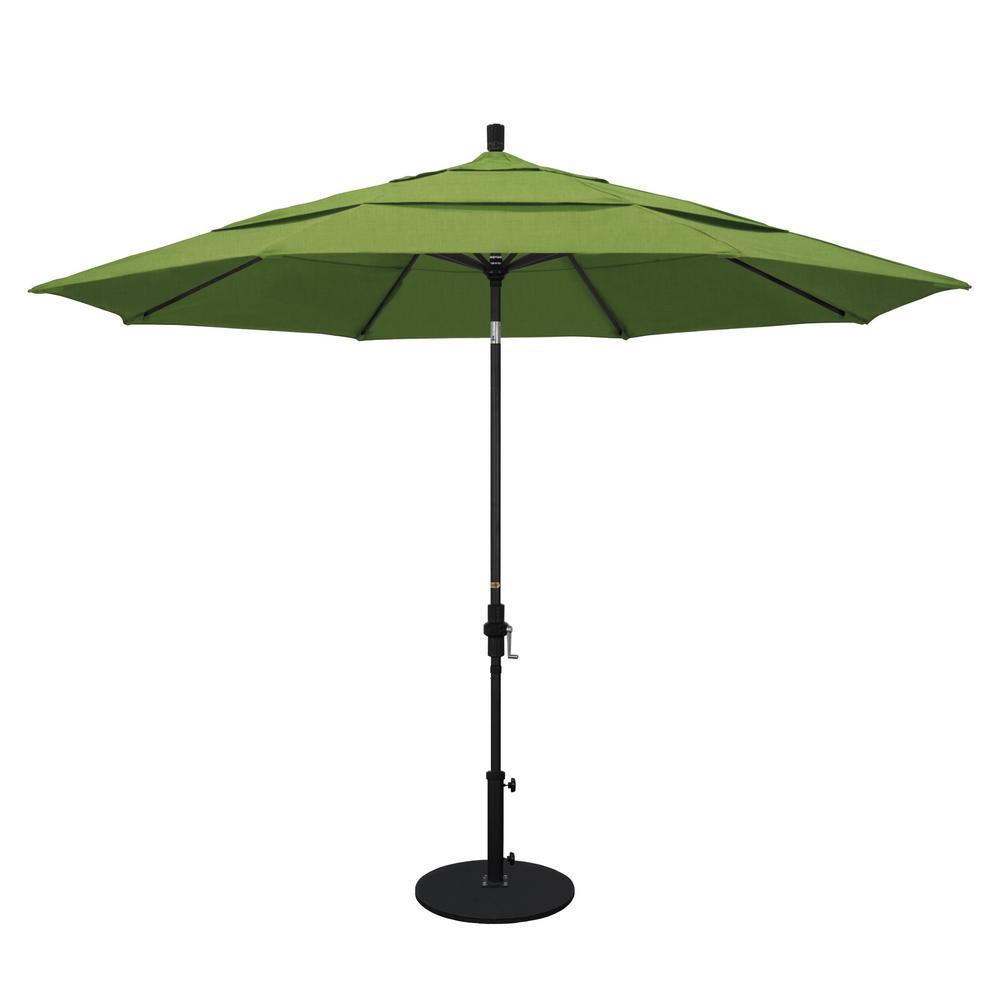 California Umbrella 11 ft  Black Aluminum Pole Market Aluminum Ribs Crank  Lift Outdoor Patio Umbrella in Spectrum Cilantro Sunbrella
