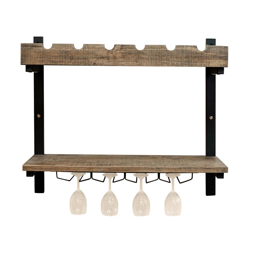 Pomona 6-Bottle Wall Shelving with Wine Storage Showcase your favorite wine in this two level Pomona wine rack with wine glass holders. Top section holds 6 wine bottles; lower shelf has room for accessories and has 5 tracks for wine glasses.