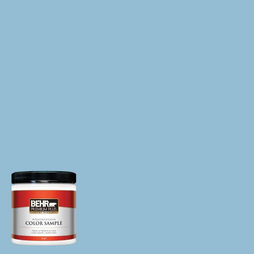 BEHR Premium Plus 8 oz. #S490-3 Reef Blue Interior/Exterior Paint Sample