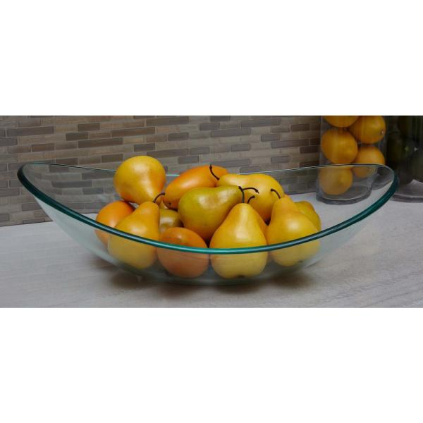22 In Boat Shaped Clear Glass Decorative Bowl