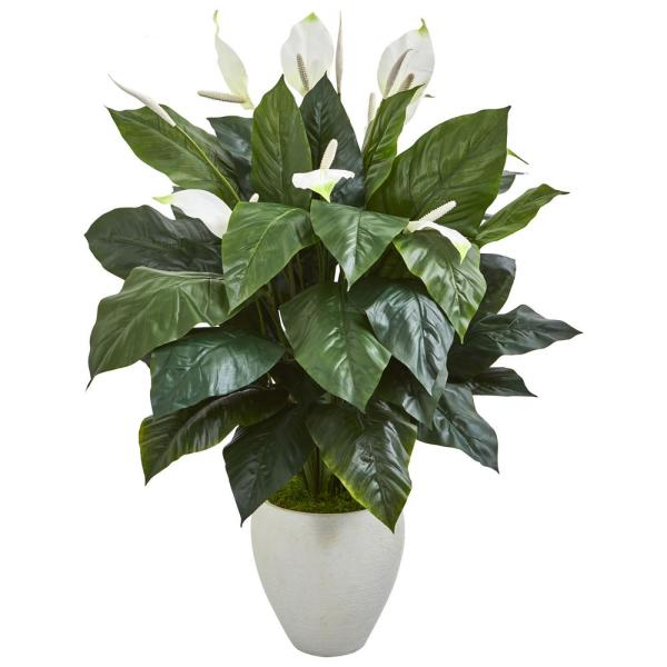 Nearly Natural Indoor 49 Elegant Spathiphyllum Artificial Plant in White Planter