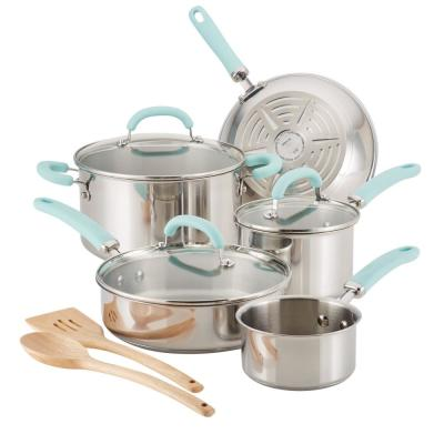 Create Delicious 10-Piece Stainless Steel Cookware Set in Stainless Steel with Light Blue Handles