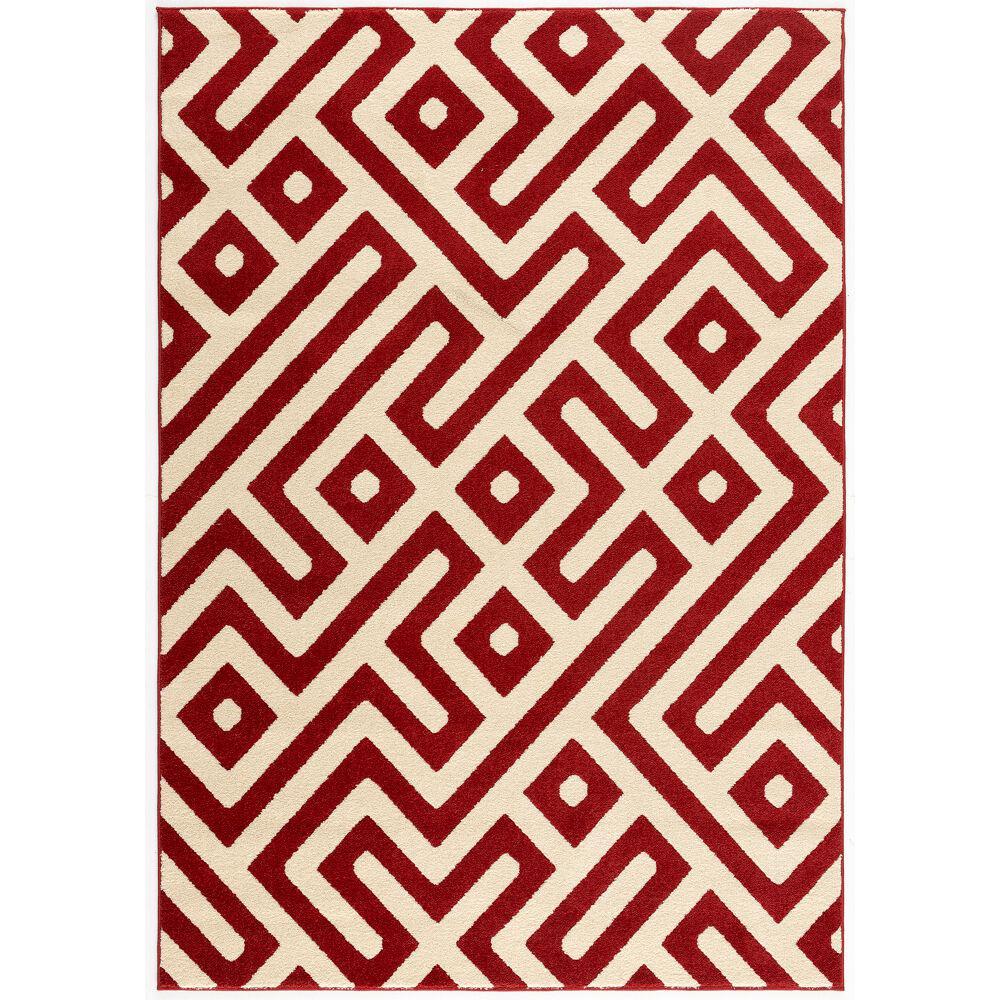 Greek Key Red 8 ft. x 10 ft. Indoor/Outdoor Area Rug