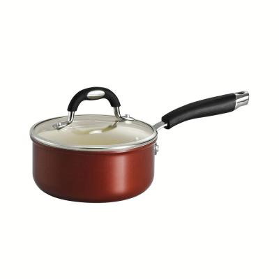 Style Ceramica 1.5 qt. Aluminum Ceramic Nonstick Sauce Pan in Copper with Glass Lid