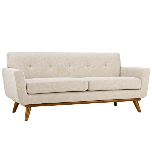Engage 78 in. Beige Polyester 2-Seater Loveseat with Wood Legs