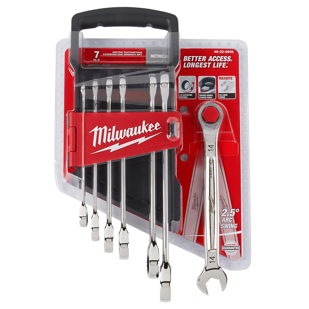Milwaukee Metric Combination Ratcheting Wrench Set (7-Piece)