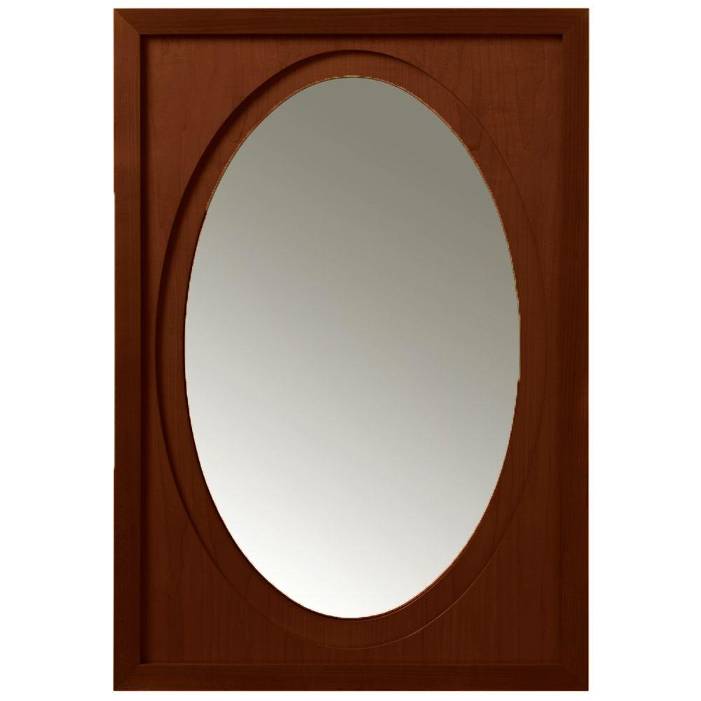 Porcher Ovale 33 in. x 22 in. Framed Wall Mirror in Cherry-DISCONTINUED
