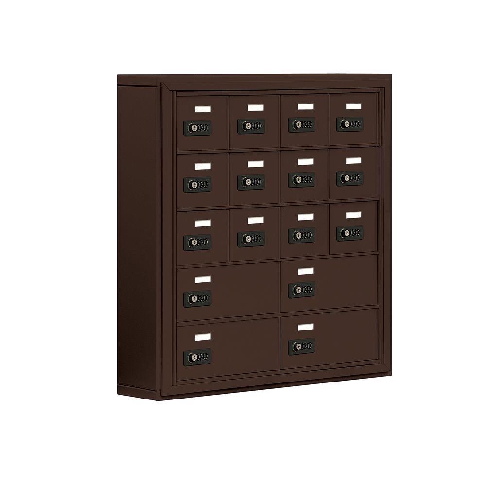 19000 Series 30.5 in. W x 31 in. H x 6.25 in. D 12 A/4 B Doors S-Mount Resettable Locks Cell Phone Locker in Bronze