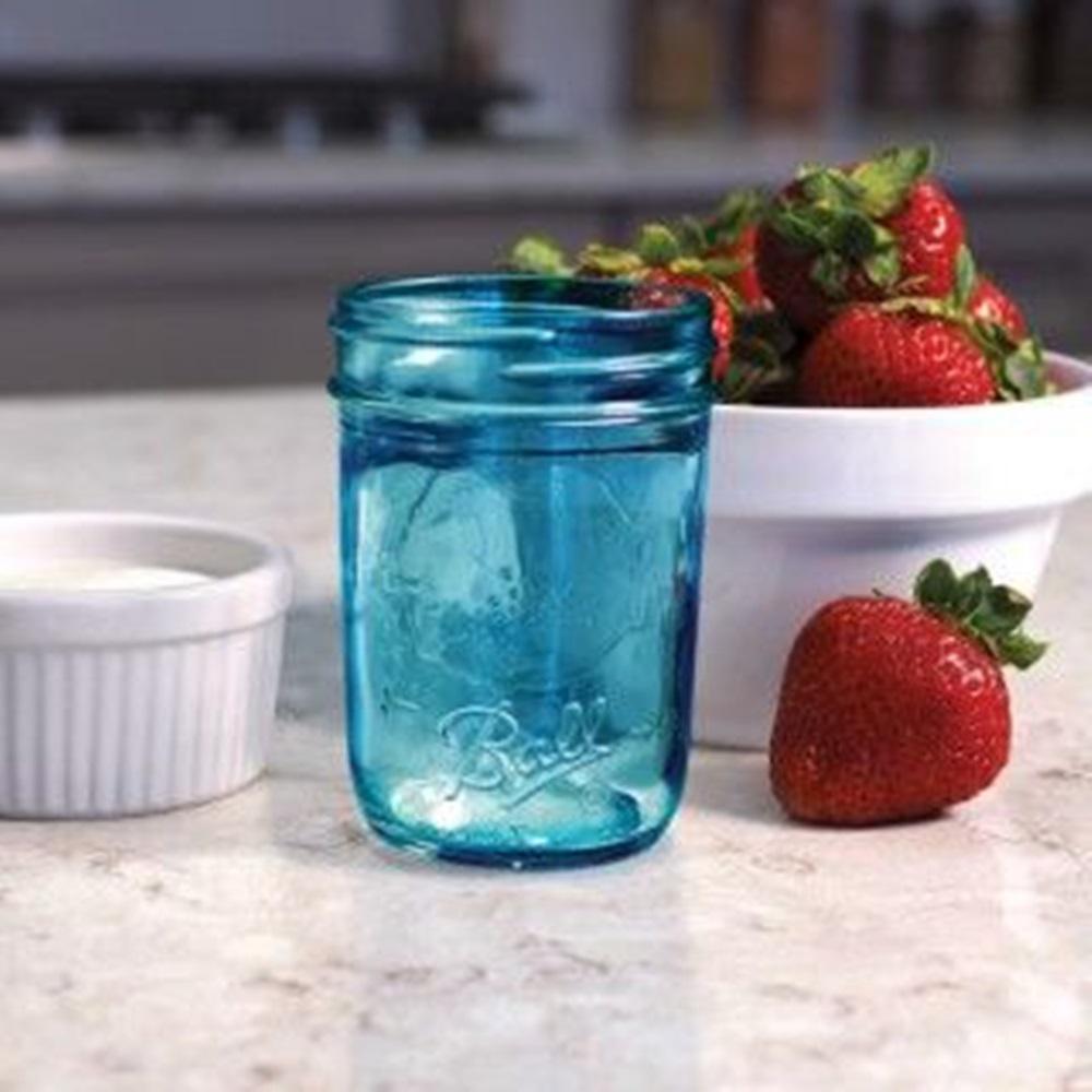 8 oz. Regular Mouth Collection Elite Blue Half Pint Jar (Pack of 4)