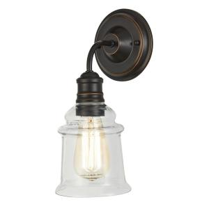 1 Light Antique Bronze Wall Sconce With Clear Glass Shade