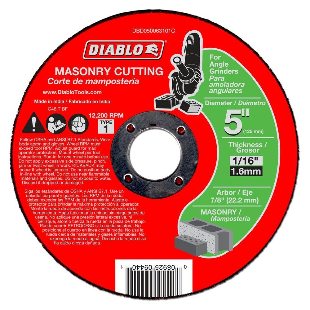 5 in. x 1/16 in. x 7/8 in. Masonry Cutting Disc (10-Pack)