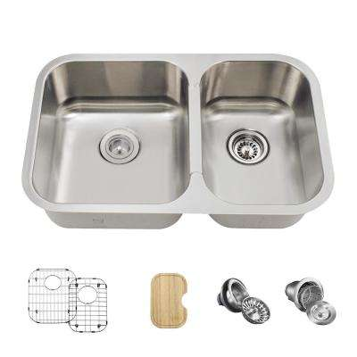 All-in-One Undermount Stainless Steel 28 in. Left Double Bowl Kitchen Sink