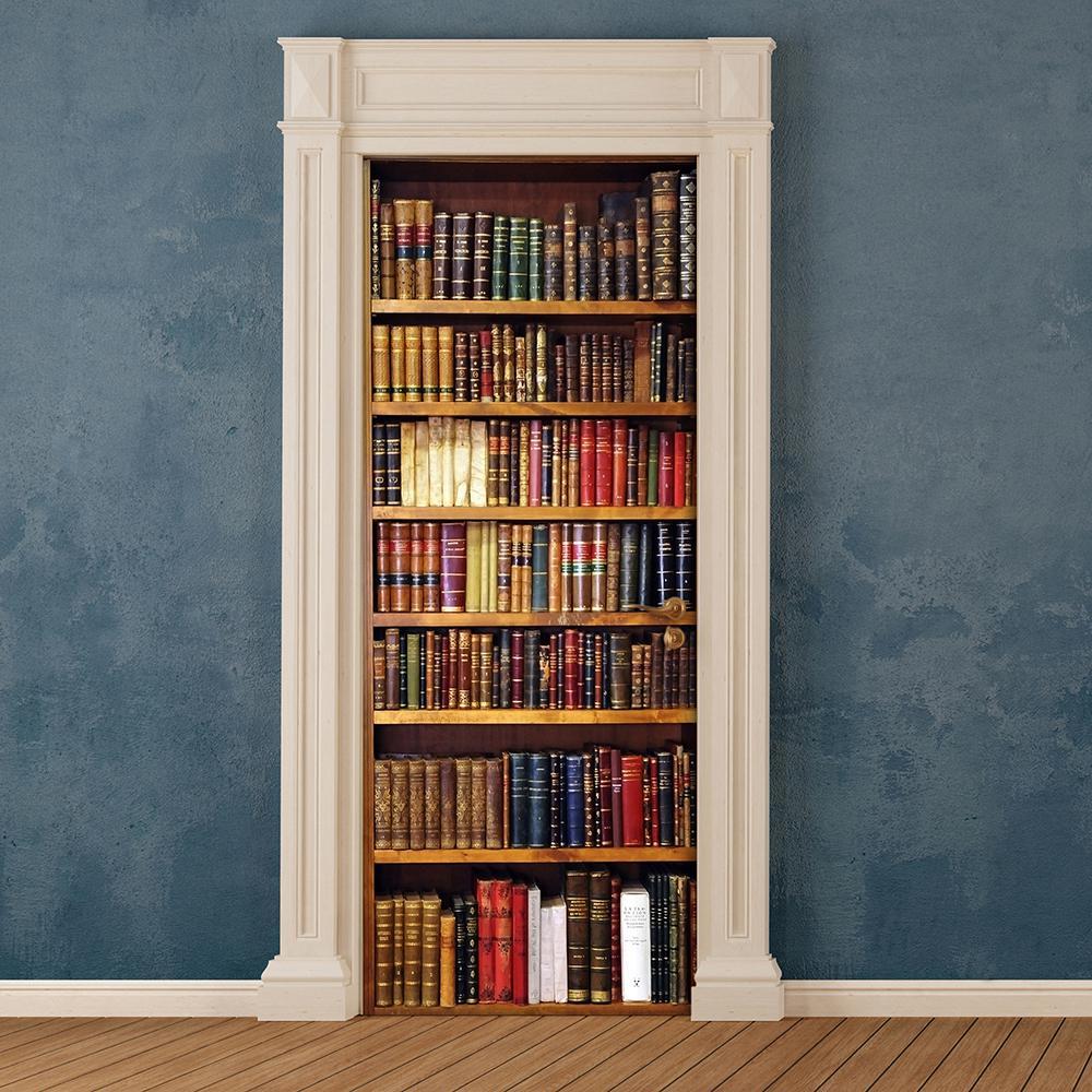 82.6 in. x 32.6 in. Brown Bookcase Door Cover Applique