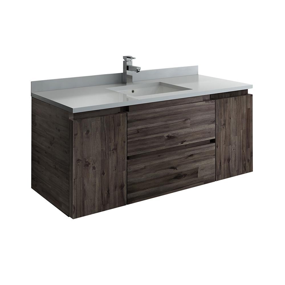 Fresca Formosa 48 in. Modern Wall Hung Vanity in Warm Gray with Quartz Stone Vanity Top in White with White Basin