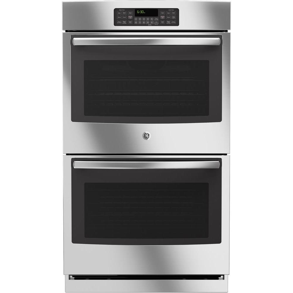 GE 30 in. Double Electric Wall Oven Self-Cleaning with Steam in ...