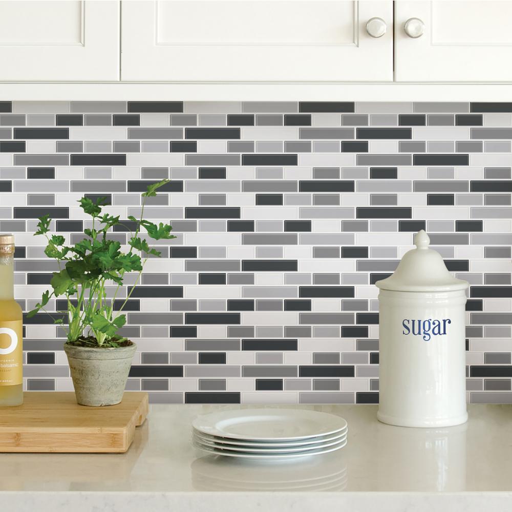 WallPOPs Black Smoked Glass Peel Stick Backsplash Tiles-NH2362 - The ...