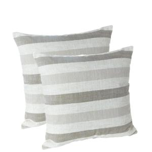 Liza Stripe Taupe 18 inch x 18 inch Decorative Throw Pillows (Set of 2) by