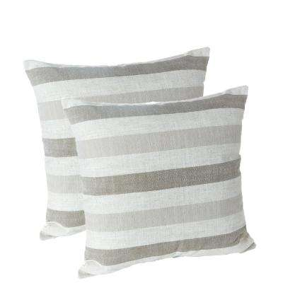 Liza Stripe Taupe 18 in. x 18 in. Decorative Throw Pillows (Set of 2)