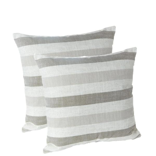 Liza Taupe Striped 18 in. x 18 in. Throw Pillow (Set of 2)