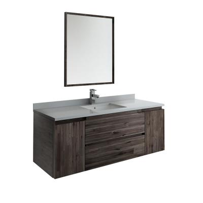 Formosa 54 in. Modern Wall Hung Vanity in Warm Gray with Quartz Stone Vanity Top in White with White Basin and Mirror
