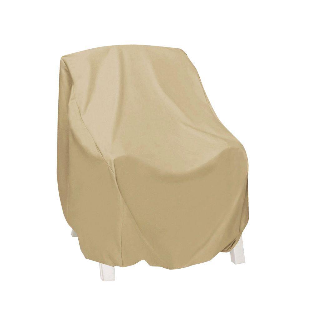 Khaki High-Back Patio Chair Cover