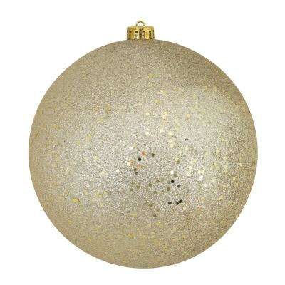 8 in. (200 mm) Champagne Gold Shatterproof Holographic Glitter Christmas Ball Ornaments